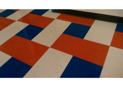 commercial floor cleaning red white and blue